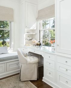 Aug 2018 - White dressing room featuring a cream tufted vanity stool at a glass top built-in dressing table. Built In Dressing Table, Dressing Table Design, Dressing Tables, Dressing Rooms, Dressing Table In Bathroom, Vanity Stool, Vanity Decor, Makeup Vanity Tables, Makeup Vanities