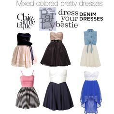 """Mixed colored pretty dresses"" by kwidapie on Polyvore"