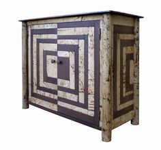 Fractured Housetop Quilt Cupboard Jim Rose made from steel with rust patina and found painted steel