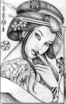Geisha Drawing, Geisha Art, Female Drawing, Japanese Tattoo Art, Japanese Tattoo Designs, Japanese Sleeve Tattoos, Arm Sleeve Tattoos, Leg Tattoos, Asian Tattoos