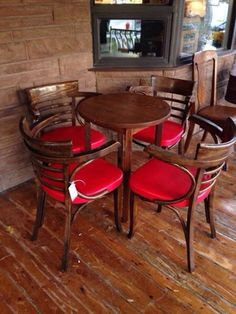 Greystone - Red leather bar chair - perfect set for the cottage games table!
