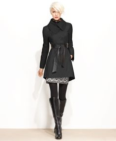 Such a stylish rainy day outfit! Flared Raincoat Faux w/ Leather Belt