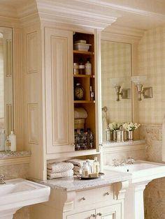 54 trendy bathroom storage freestanding built ins Bathroom Renos, Bathroom Storage, Small Bathroom, Master Bathroom, Bathroom Cabinets, Bathroom Ideas, Pedestal Sink Storage, French Bathroom, White Bathroom