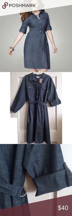 Belted Denim Shirtdress AVENUE PLUS SIZE / Belted Button Front Denim Shirtdress - Plus Size 24 - Button down through the front with white pearlized buttons - Detachable belt - Convertible sleeves can be worn long or rolled and buttoned at elbow - 70% cotton, 28% polyester, 2% spandex (very little stretch) ✅ NWOT- brand new, never worn ✅ NO trades / NO low-balling ✅ List price is fair and highly discounted✌️ Avenue Dresses