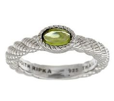 Judith Ripka Sterling Oval Peridot Cabachon Stack Ring