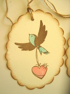 Aqua and brown bird with pink heart gift tags