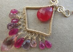 Rich Rose Necklace Chalcedony Pink Sapphire by BellaBerlinJewels