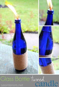 Glass Bottle Turned Candle with rope detail by @Jenna_Burger