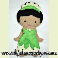 Frog Princess costume for felt dolls available at https://www.etsy.com/shop/SchoolhouseBoutique