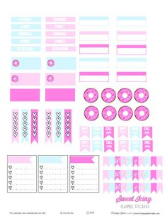 Sweet Icing Planner Stickers | Free Printable download of planner stickers suitable for Erin Condren Planners or other week at a glance vertical calendars. Free for Personal use.