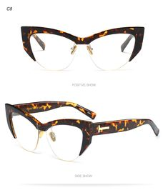 5d972c144f Glasses - Half Frame Comfortable Color Ladies Cat Eye Sunglasses