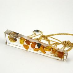 Baltic Amber Fashion Necklace, Amber Resin Pendant with Long Gold Chain, Baltic Amber Jewelry