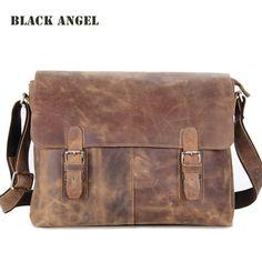 BLACK ANGEL Vintage men bag crazy horse leather cross body men shoulder messenger bags 14 inch laptop bag High Quality