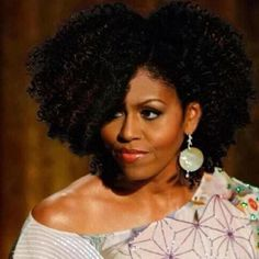 """Michele Obama Natural Hair """"Hope"""" and """"Change"""" for the next inaugeration."""