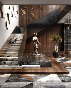 The interest, richness and depth that mixed materials bring to a design scheme is undeniable. Residential House in Dubai By Home Stairs Design, Modern House Design, Modern Interior Design, Stair Design, Modern Stairs Design, Contemporary Stairs, Contemporary Architecture, Architecture Design, Residential Architecture