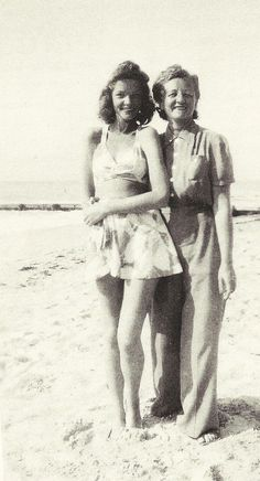 A 15 year old Lauren Bacall with her beloved mother, Natalie, 1940.
