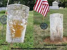 Gravestone Transformations - Francis M Gilbert - Browns Chapel Cemetery - Clarksburg, Ohio - before and after cleaning and resetting.   Gravestone Transformations provides conservation and preservation to gravestones, headstones, monuments, footstones, mausoleums and more in central and southern Ohio.   Contact us today to preserve your family's history!