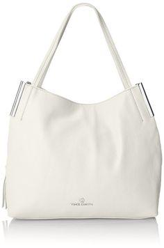 Vince Camuto Tina Feather White Leather Zipper Closure Tote Bag Carryall #Doris_Daily_Deals #Bonanza www.bonanza.com/listings/384815228