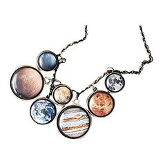 Solar System necklace Space jewelry Statement necklace Planet Necklace ($9.53) ❤ liked on Polyvore featuring jewelry, necklaces, planet necklace, galaxy necklace, solar system jewelry, galaxy jewelry and bib statement necklaces