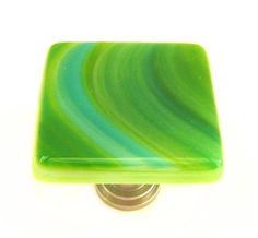 Green Glass Knobs with Turquoise and Green by UneekGlassFusions, $12.00