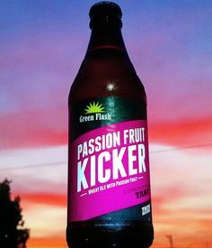 """Green Flash ▪ Passion Fruit Kicker Wheat Ale 5.5% ABV.  #greenflashbrewing #greenflash #craftbeer #beerstagram #beersnob #beerlife #beerporn #instabeer #tart #dreamsarewhatbeerismadeof #mybeerisbetterthanyours #beernerd #sunsetsandrainbowsandpuppydogtails #theendisbeer"" via maltzart_beertoven on Instagram"