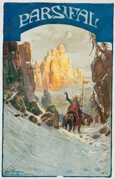 'PARSIFAL' Wagner, Richard; Komponist; 1813-1883. Werke: Parsifal (1882). - 'PARSIFAL'. - (Parsifal erblickt die Gralsburg). Bildpostkarte, 1914, hrg. vom Bund der Deutschen in Niederösterreich. Entwurf: Heinz Pinggera. E: 'PARSIFAL' Wagner, Richard; Composer, 1813-1883. Works: Parsifal (1882). - 'PARSIFAL'. - (Parsifal sees the Grail's Castle) - 1914 Heinz Pinggera.