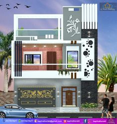 House Outer Design, House Wall Design, Front Wall Design, Single Floor House Design, House Outside Design, Bungalow House Design, Small House Design, Front Elevation Designs, House Elevation