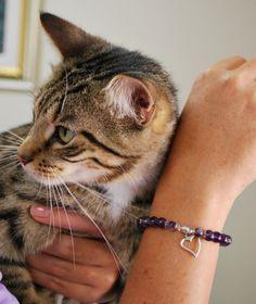 Purple Amethyst beaded Heart bracelet by BrigidsCrossing on Etsy, $25.00