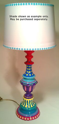 I have a lamp this size and shape I could do this with. ---Hand Painted Table Lamp 005 Fun Funky Whimsical and by LisaFrick, Funky Painted Furniture, Painted Chairs, Colorful Furniture, Paint Furniture, Repurposed Furniture, Furniture Makeover, Cool Furniture, Painted Lamp, Painted Tables