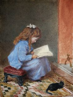 Young Girl and her Kitten reading by a Fireside - James Pelham 1800-1874