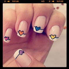 unhas decoradas para o dia a dia vermelhas - Pesquisa Google Cute Nail Art, Easy Nail Art, Pedicure Nails, Toe Nails, Nail Art For Kids, Valentine Nail Art, Diamond Nails, Stylish Nails, Nail Art Hacks