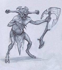 Demon With Axe by Mavros-Thanatos.deviantart.com on @deviantART