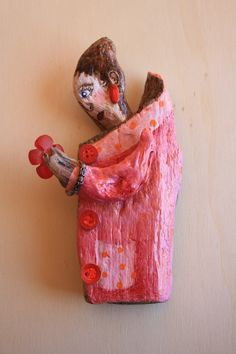 'Ruby Red'. Acrylic on driftwood with mixed media. By Ginny Rose, 2014