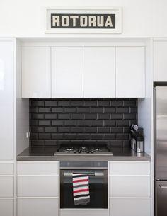 square black kitchen splashback tiles - Google Search
