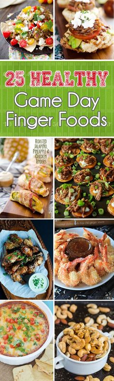 25 Healthy Game Day Finger Foods - A collection of lightened up game day snacks, appetizers and dips that will satisfy everyone, from a hardened football fan to someone there just to enjoy good food!