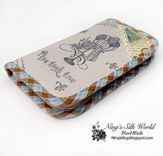 Zipper Wallet Purse Natural Linen Many Pockets by ningssilkworld