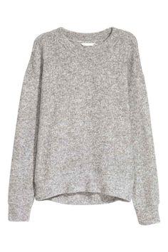Fijngebreide trui - Grijs gemêleerd - DAMES | H&M NL