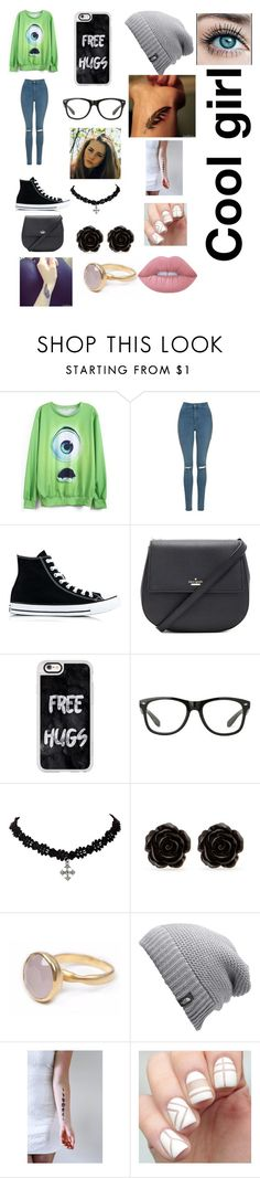 """""""Cool Greek"""" by evanspam ❤ liked on Polyvore featuring Topshop, Converse, Kate Spade, Casetify, Erica Lyons, Bohemia, The North Face and Lime Crime"""