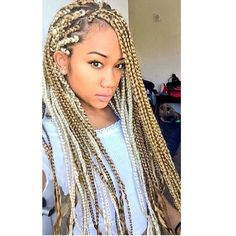 || HAIRSPIRATION || Love these blonde #boxbraids on @noukang So FIERCE #VoiceOfHair Black Girl Braids, Girls Braids, African Hair Braiding Salons, Curly Hair Styles, Natural Hair Styles, Blonde Braids, Box Braids Styling, Beautiful Braids, Box Braids Hairstyles
