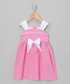Look what I found on #zulily! Fuchsia Gingham Bow Seersucker Dress - Toddler by Rosenau Beck #zulilyfinds