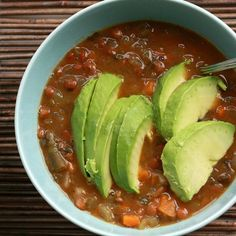 Whip up some homemade spicy lentil vegetable soup and top your bowl with slices of creamy avocado. Source: Flickr user SweetOnVeg