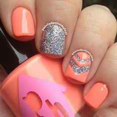 Peachy orange nail art idea: silver glitter accent nail with a peavy orange chevron overlay and regular nails. Get Nails, Fancy Nails, Love Nails, How To Do Nails, Prom Nails, Gorgeous Nails, Pretty Nails, Uñas Color Coral, Orange Nail Art