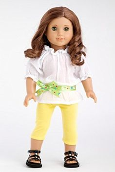 DreamWorld Collections Sunny Day - White cotton blouse with yellow leggings and green belt (Shoes not included) - American Girl Doll Clothes...