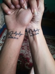Husband And i forever tattoo couple matching heart beat