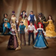 Disney Fairytale Designer Collection of Five Dolls with their Prince - Ariel, Rapunzel, Snow White, Belle and Jasmine