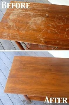 Fix scratches on wood furniture: 1/4 cup vinegar and 3/4 cup olive oil. by orkant