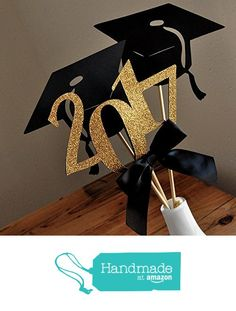 Graduation Party Decoration. Black and Gold Centerpiece for Graduation Party 3CT. VASE NOT INCLUDED. from Confetti Momma https://www.amazon.com/dp/B0160B7BLI/ref=hnd_sw_r_pi_dp_KJNNybQQ0F3FC #handmadeatamazon