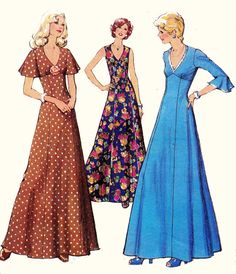 70s Vintage sewing pattern Maxi Dress with by allthepreciousthings,