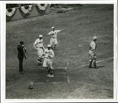 St. Louis Cardinal Ray Blades Crossing home plate on Charlie Gelbert's single, 5th inning, game four of 1930 World Series. Photograph by unknown, 1930. Missouri History Museum Photograph and Prints Collections.
