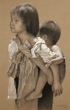 """""""Hmong Children 2"""" - Danièle Aviron, mixed media charcoal and chalk on tinted paper {figurative art older girl carrying brother on her back portrait profile drawing} aviron-daniele.com"""